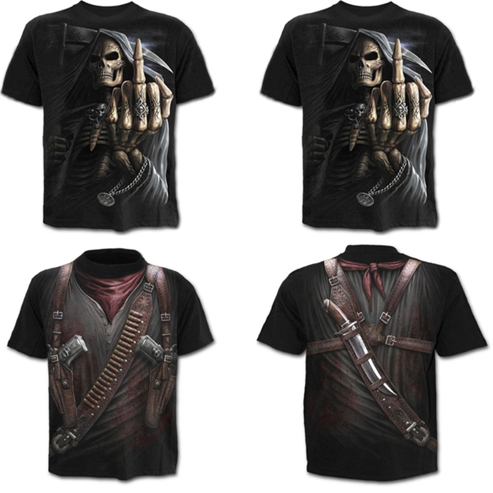 Overlord Costume 2019 Summer men's short-sleeved 3D digital printed T-shirt Halloween men's hip-hop funny party Skull T shirts