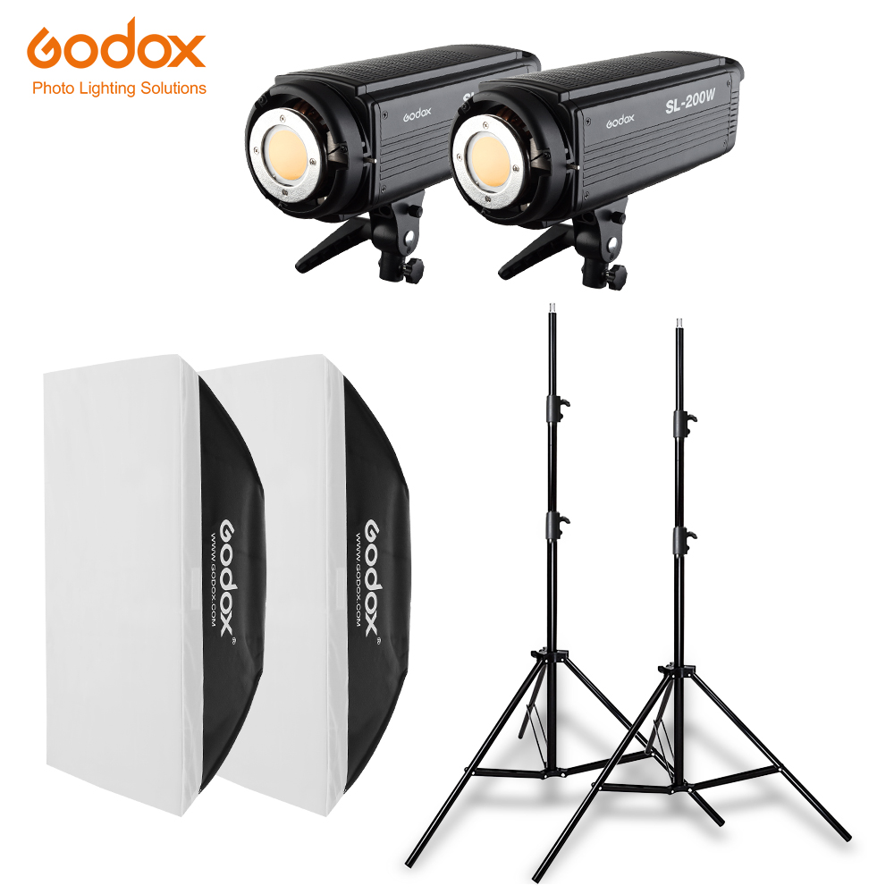 2x Godox SL 200W 200Ws 5600K Studio LED Continuous Photo Video Light 2x 2 8m Light
