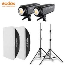 2x Godox SL 200W 200Ws 5600K ستوديو LED المستمر صور فيديو ضوء + 2x2.8m ضوء حامل + 2x70x100 سنتيمتر الفوتوغرافي Softbox