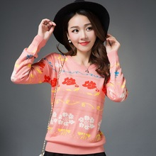 Christmas Women Sweaters and Pullovers Winter Autumn Knitted Vintage Floral O-Neck Knitwear Warm Ladies Sweater WK125