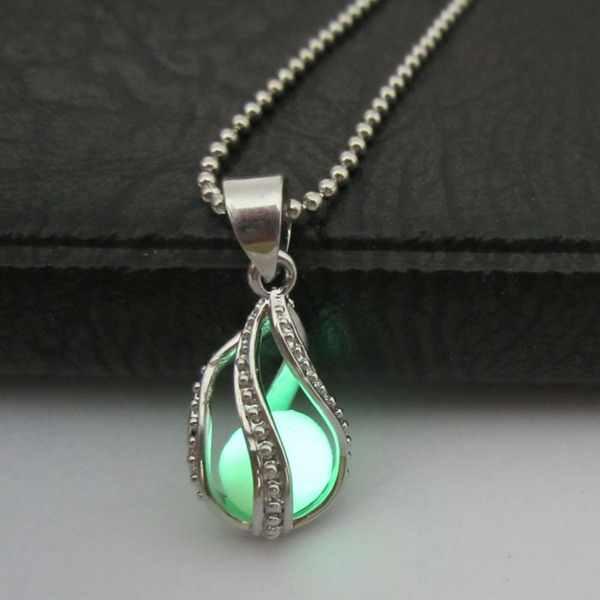 משלוח חינם רודיום מצופה ירוק זוהר בחושך מים זרוק אטלנטיס תליון קסם חג המולד מתנות תכשיטי שרשראות