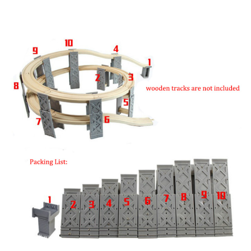 Wooden Spiral  Bridge Rail Track Accessories Fit All Famous Wooden Train Educational Boy/ Kids Toy