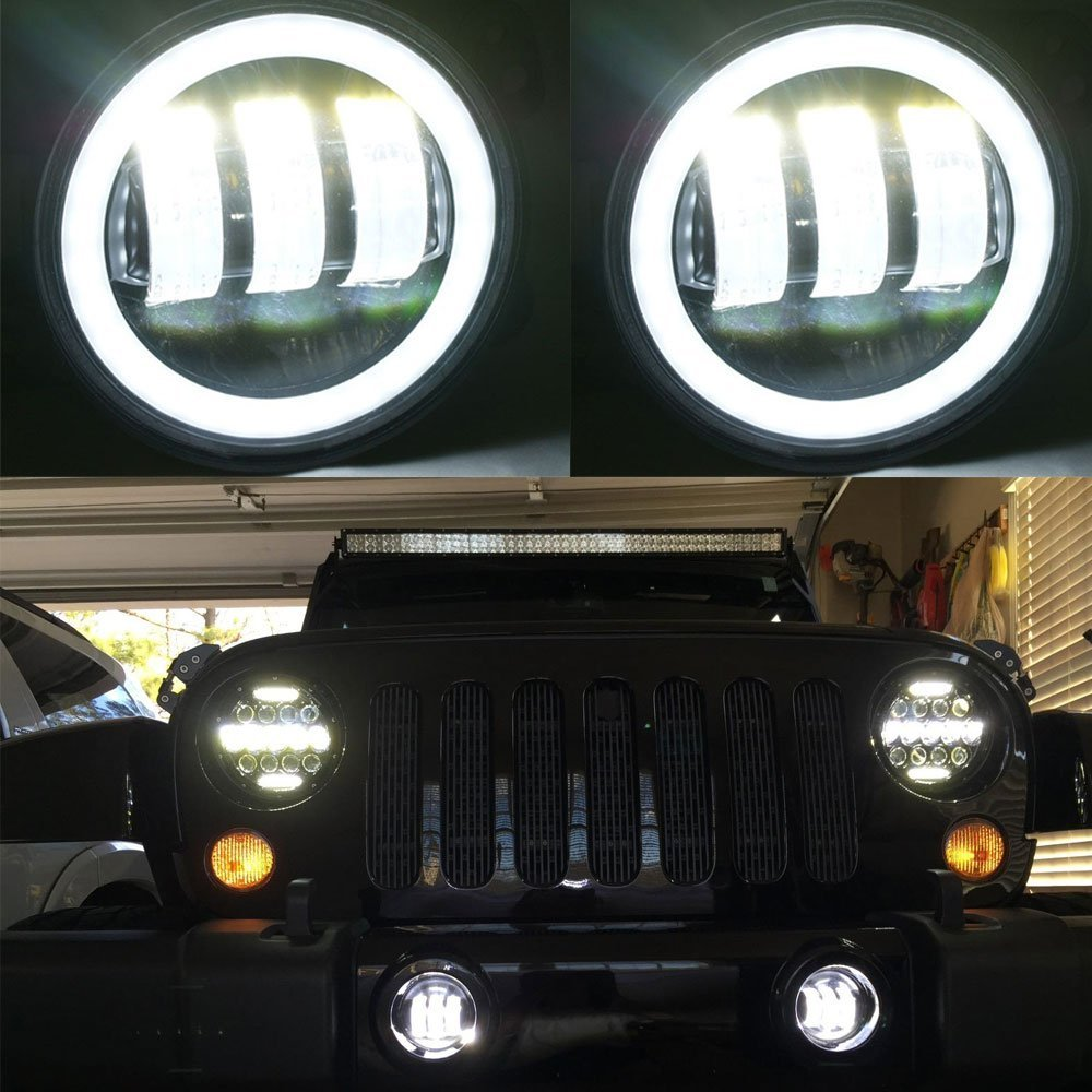 4 Inch Round Led Fog Light Headlight 30W Projector lens With Halo DRL Lamp Offroad For