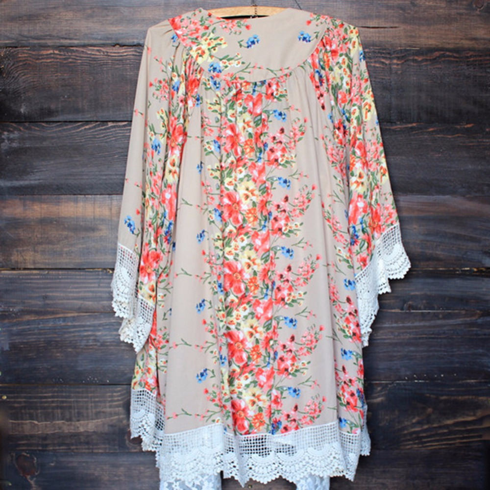 Mujeres Caliente Kimono De Floral Las Retro Traje Gasa Blusa Tops Camiseta fwxPqgwn