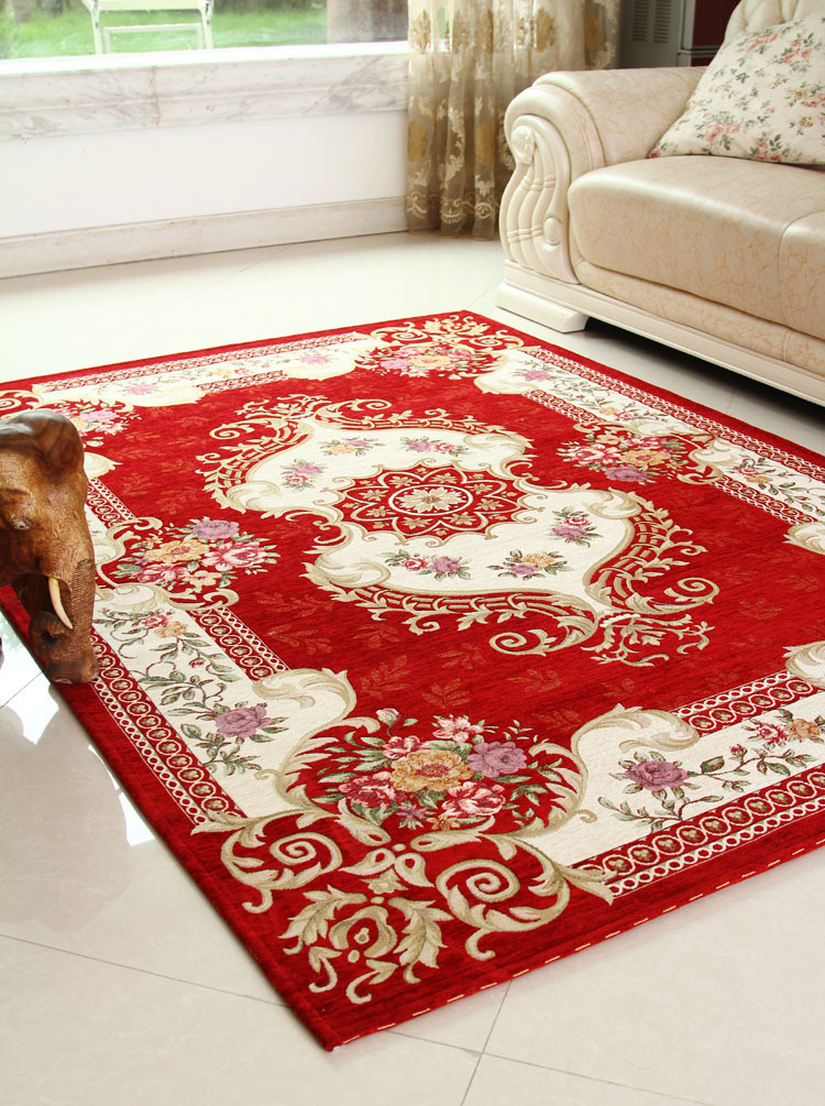 Living Room Carpet 160 230 Cm Red Area Rugs For Home Rural Flower Floor Decorative Mat Indian