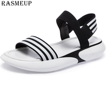 RASMEUP Leather Platform Sandals Women 2019 Summer Women's Chunky Shoes Fashion Buckle Thick Soled Casual Woman Beach Sandal