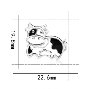 Image 4 - 2018 sterling silver 925 lovely animal cows chain pendant&necklace with black enamel diy fashion jewelry making for women gift
