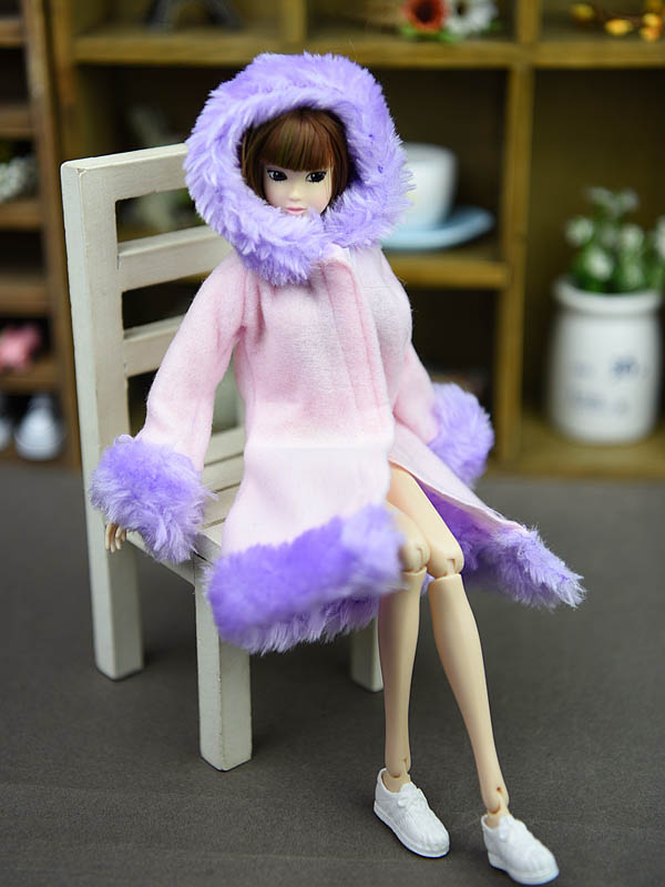 Doll Accessories Winter Wear Warm Coat For Barbie Dolls Fur Doll Clothing Dress Clothes For Barbie 1/6 BJD Doll Kids Toy 3