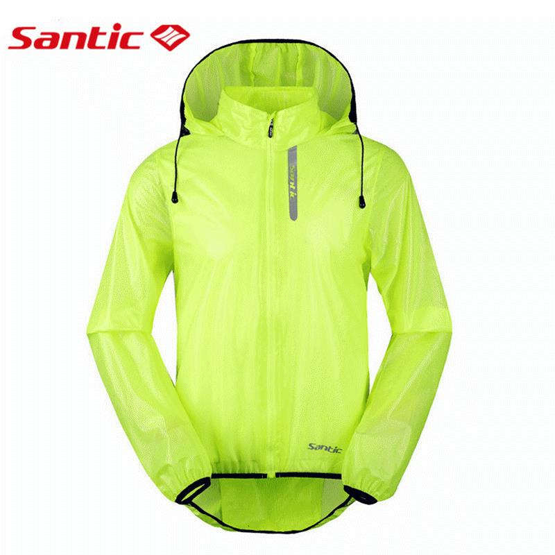 Santic Waterproof Cycling Jackets Raincoat UPF30+ Windproof Breathable Bicycle Bike Rain Jacket Hooded Cycling Clothing Green