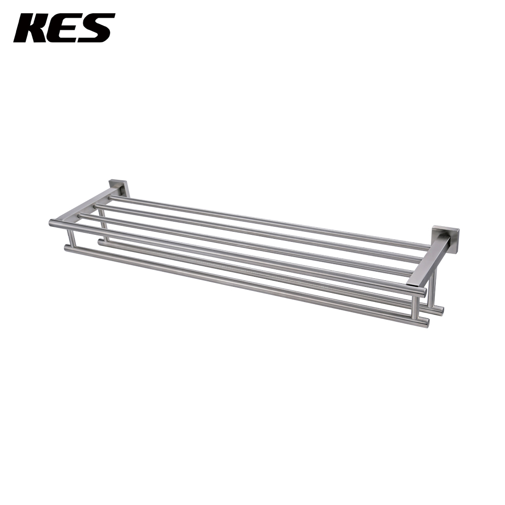 KES Large Towel Rack, Towel Shelf with Two Bar (30 Inch Stainless Steel) Shower Organizer Wall Mount Brushed Finish, A2112S30-2 shelf