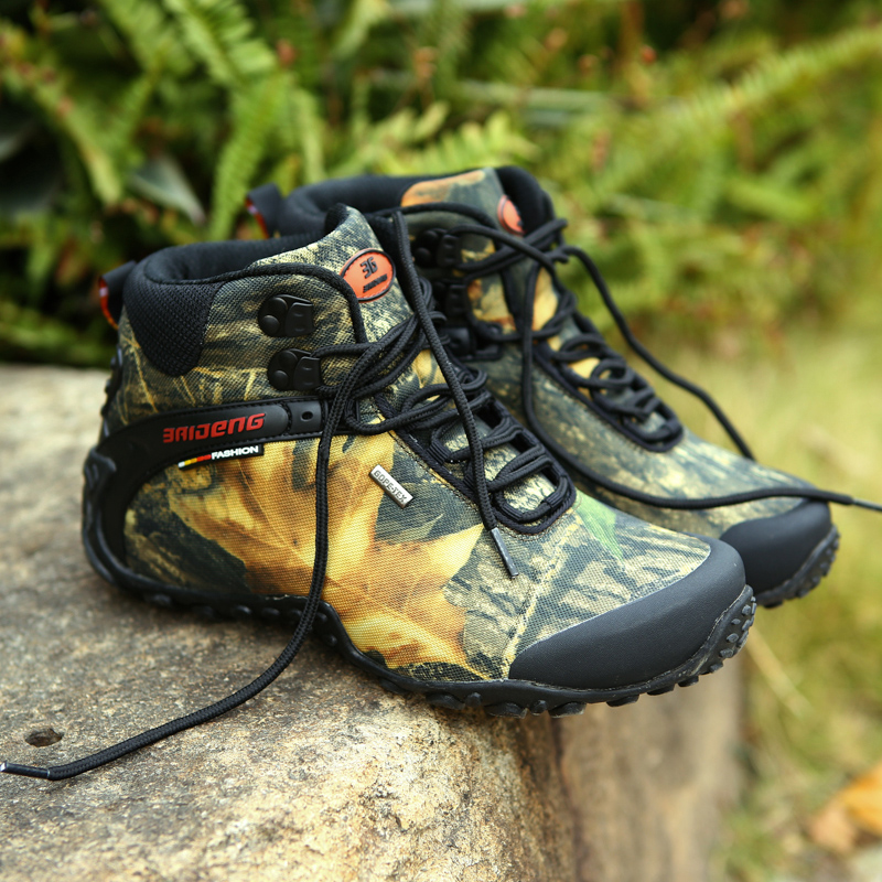 EALON New Waterproof Canvas Hiking Men Shoes Trekking Boots Outdoor Camouflage Hunting Climbing High Top 2017 Plus Large Size 10 2016 sale professional men s boots camouflage military boot waterproof hunting hiking shoes size euro 39 44 bo01