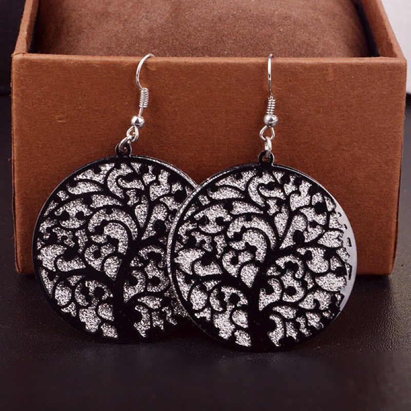 Fashion Round Life Tree Hollow Out Scrub Earrings for Women Girl Tree Of Live long Dangle