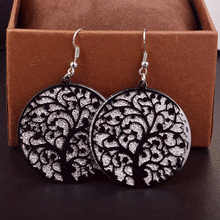 Fashion Round Life Tree Hollow Out Scrub Earrings for Women Girl Tree Of Live long Dangle Earrings Designs Gift Jewelry