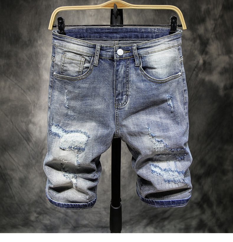 New Fashion Mens Ripped Short Jeans Brand Clothing Retro Casual Summer 98% Cotton Shorts Breathable