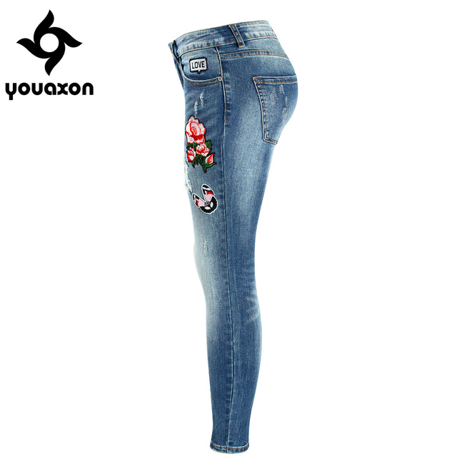Embroidery Flower Patch Cropped Women`s Brand New Low Waist Stretch Skinny Elegant and Modern Denim Jeans