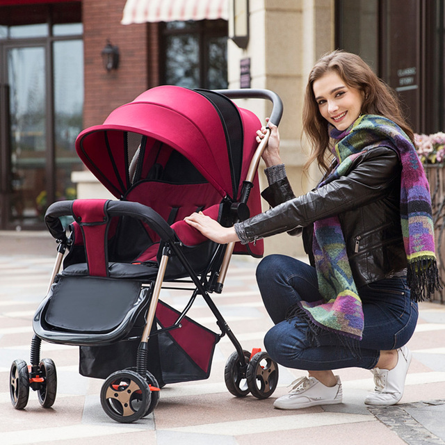 New Arrives Portable Baby Stroller Can Sit Can Lie High Landscape Light Weight Four Wheel Shockproof Folding Easy baby car