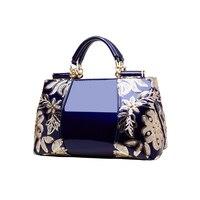 Homeda Women Luxury Embroidery Handbag Designer High Quality Patent Leather Vintage Flowers Ladies Shoulder Bag Tote