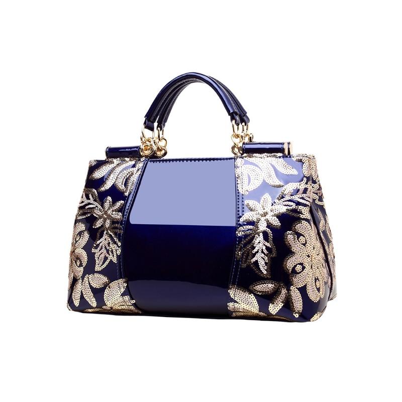 Homeda Women Luxury Embroidery Handbag Designer High Quality Patent Leather Vintage Flowers Ladies Shoulder Bag Tote sac a main