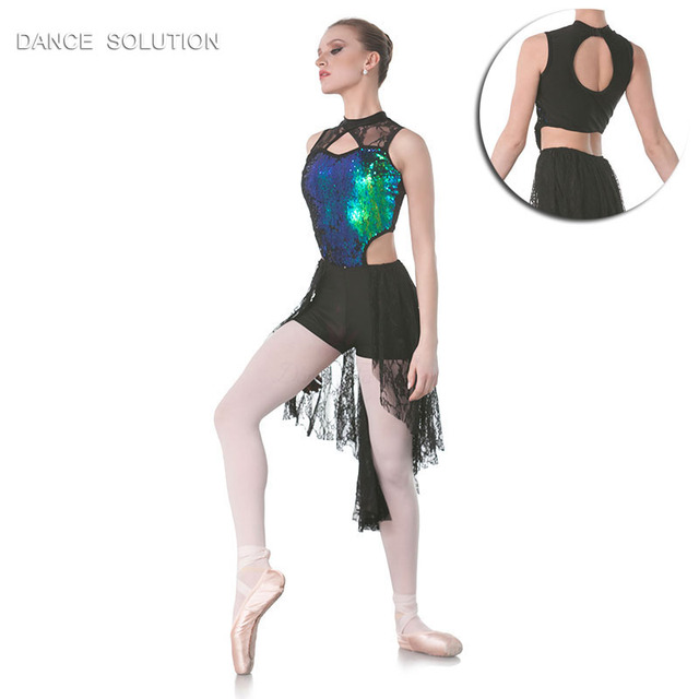 Green Sequin Bodice Lace Skirt Dance Costume Dresses For Girls Women  Lyrical Contemporary Modern Dance Costumes fedd3f22d2bc