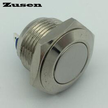 Zusen 16mm GQ16F-10/J/N Momentary Nickel-plated brass Momentary Metal Push Button Switch iP65