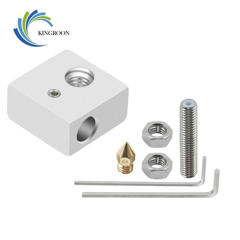 KINGROON MK8 Hotend Heated Block Kit 1*Aluminium Heating Block+1*1.75mm 0.4mm Nozzle+1*M6*30mm Throat+ 2*M6 Nut+2*Wrench Parts 2