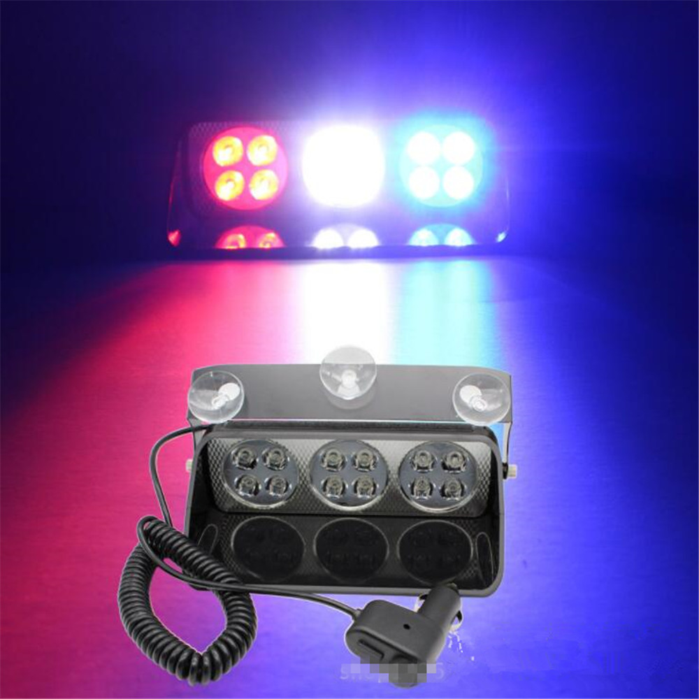 CYAN SOIL BAY 24W 12 led Car dash strobe light Windshield Warning flash light Police Fireman truck Emergency flasher Fog lamp s2 shovels ray bead 96w led flashing police strobe intimidator windshield dash light