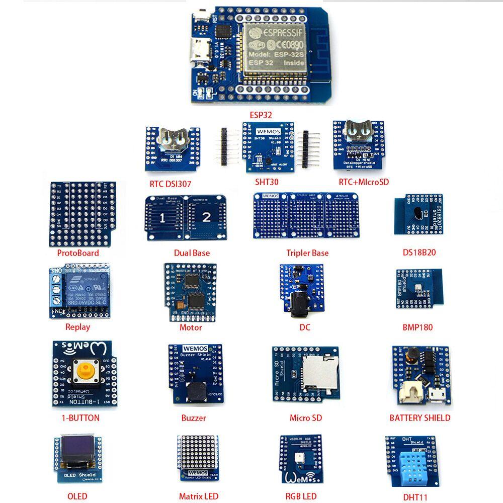 20 KITS EN 1 MINI D1 ESP32 WiFi + kit d'apprentissage Bluetooth et MINI D1 (sonnerie OLED micro SD BMP180 WS18B20 1-bouton ..)