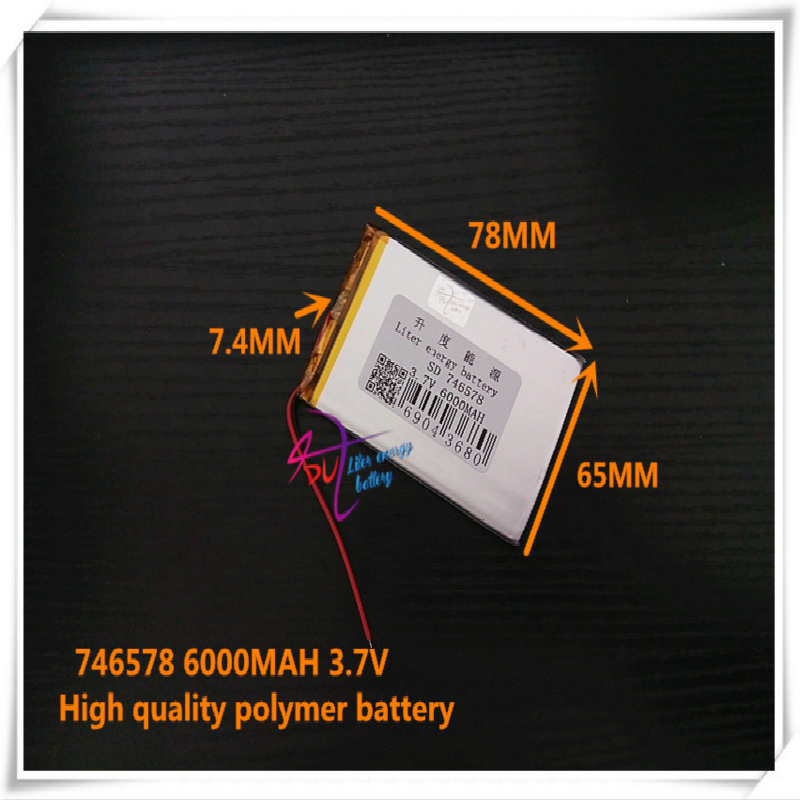 <font><b>3.7V</b></font> <font><b>6000mAH</b></font> 746578 <font><b>Polymer</b></font> <font><b>lithium</b></font> ion / Li-ion <font><b>battery</b></font> for <font><b>tablet</b></font> pc mp3 mp4 GPS cell phone speaker image