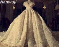 2018 Stunning Đại Empire V Neck Wedding Dress Off the vai Hoàng Train Cao cấp Bridal Gown Kích Cỡ Tùy Zipper Lại Gown