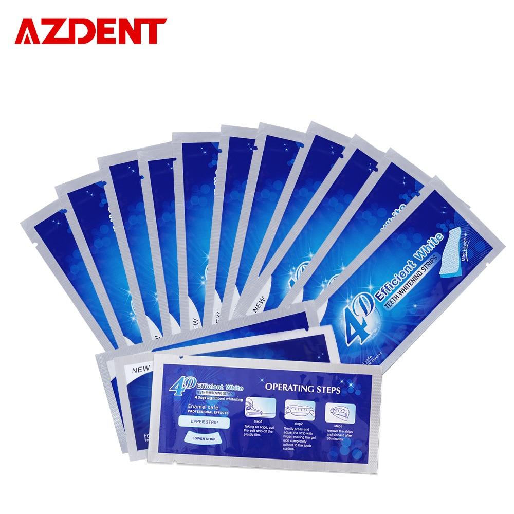 AZDENT 14 Beutel/28 Streifen 3D Zahnweiß-streifen Aktualisiert 4D Whitestrips Zahn-weißkocher Bleaching Erweiterte Streifen