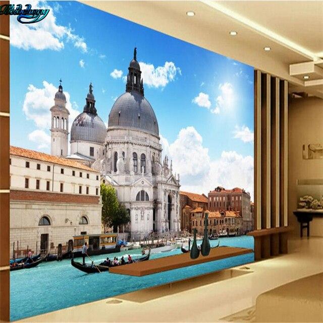 beibehang large custom venetian water castle 3d stereo tv living room bedroom background home decoration