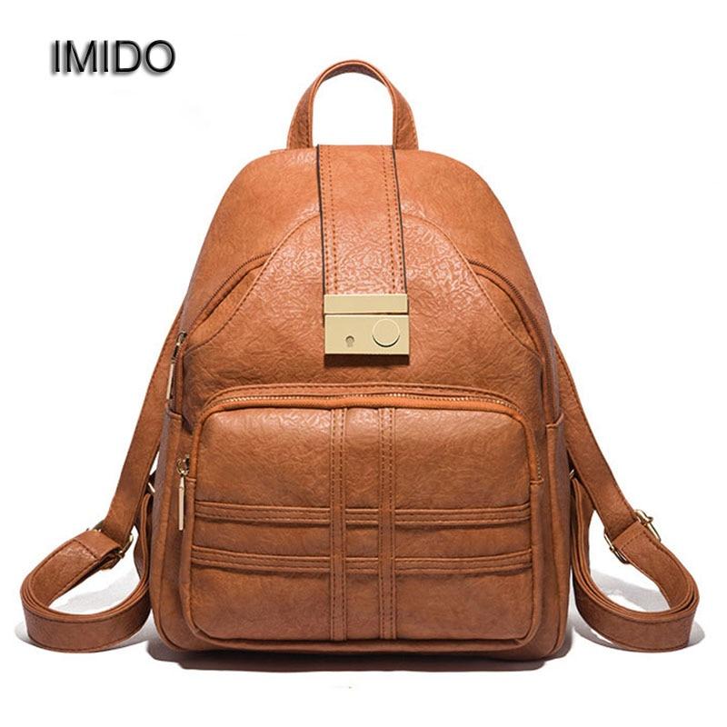 IMIDO Brand Luxury PU leather backpacks women bags travel backbag female shoulder backpack mochila feminina korean Style SLD127