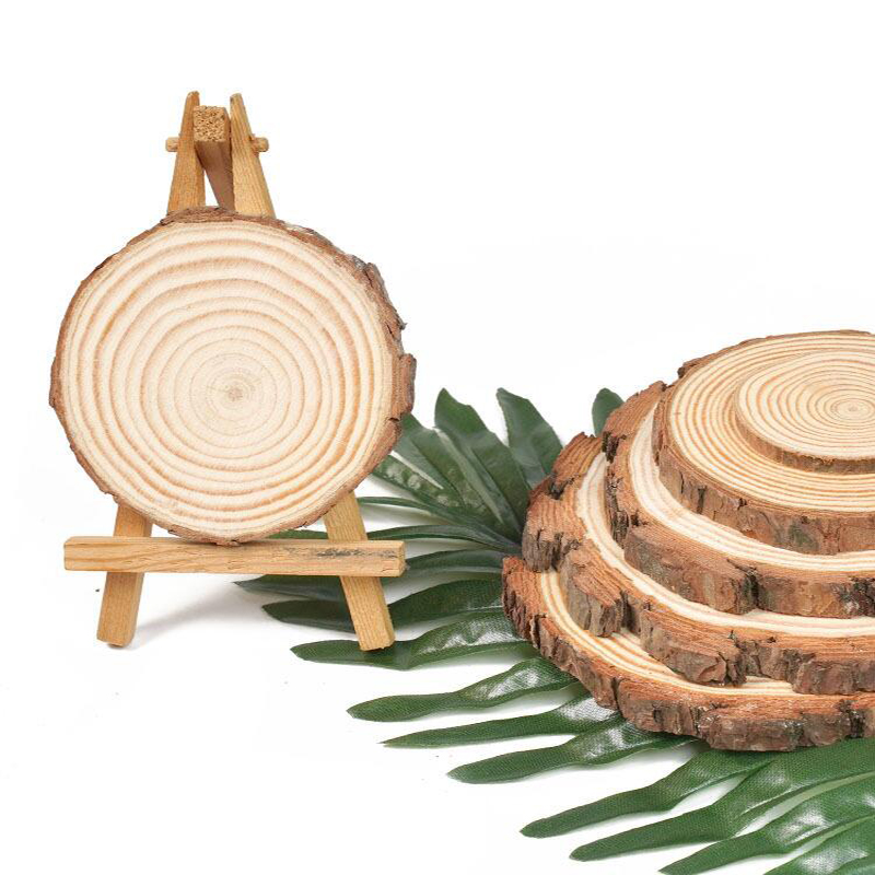 5pcs Unfinished Natural Round Wood Slices Circles With Tree Bark Log Discs For DIY Crafts Wedding Party Painting Decoration