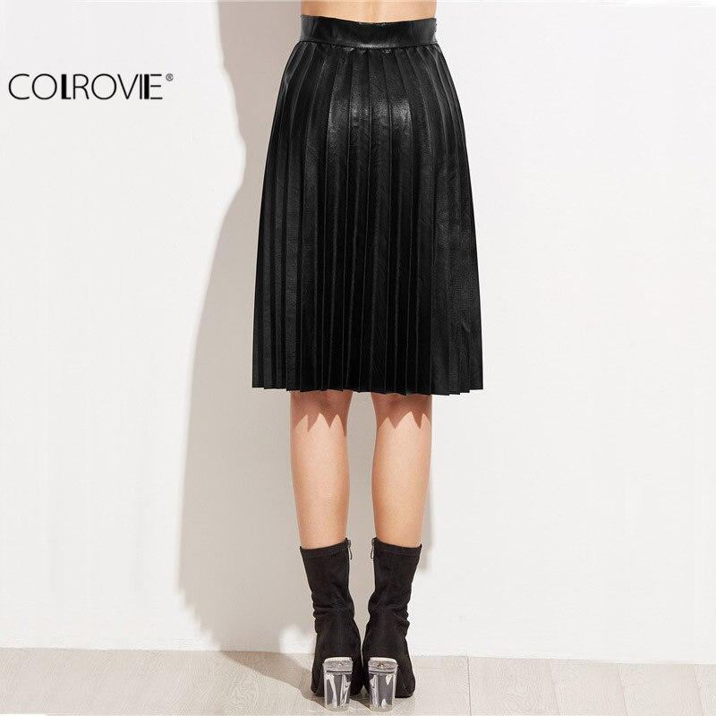 b35c45166352 Women Clothing Leather Pleated Skirt Knee Length Skirt Fall Black .