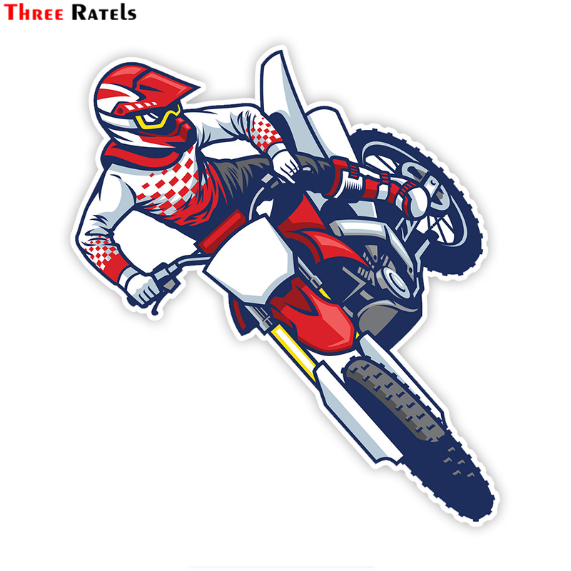 Three Ratels LCS028# 15x16cm Motocross Rider Doing Jumping Colorful Car Sticker Funny Car Stickers Styling Removable Decal