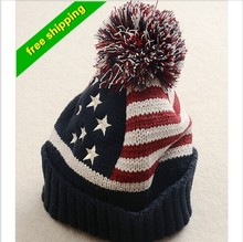 Flag autumn winter wool hat women cute fashion United States warm winter ear knit winter Hat