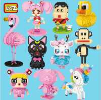LOZ Mini Building Block Arcobaleno Unicorn Anime Flamingo Pesca Ragazza Del Gatto Del Fumetto Luna Anatra Scimmia Renna Action Finger Giocattoli Regalo