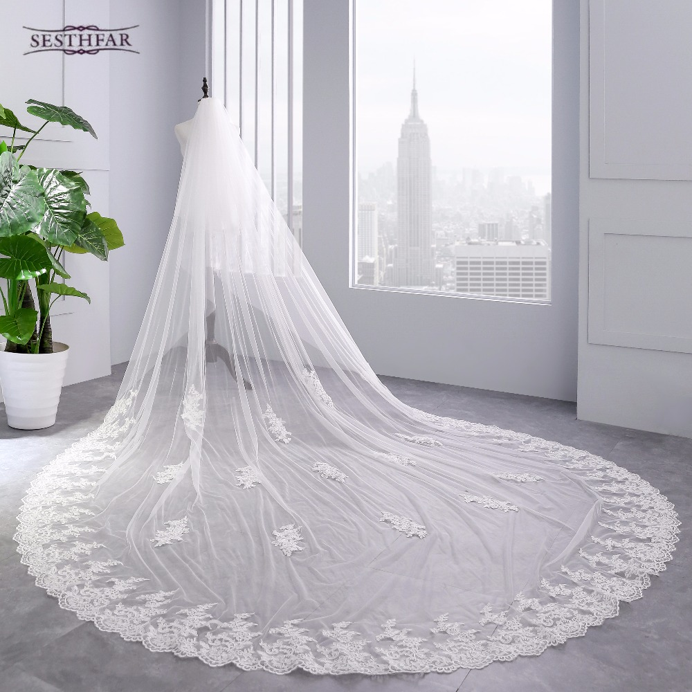 2018 Real Photos High Quality 2 Tiers Blush Cover Face Cathedral Shining Sequined Lace Wedding Veil