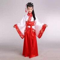 Girl Ancient Chinese Traditional National Costume Hanfu Red Dress Princess Children Hanfu Dresses Cosplay Clothing Girls