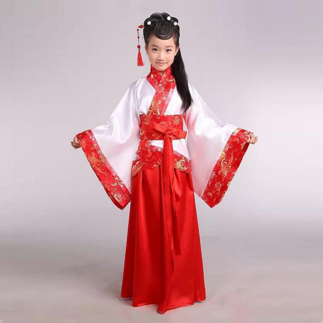 8e01a34ae Girl ancient Chinese traditional national costume Hanfu red dress princess  children hanfu dresses cosplay clothing girls kids