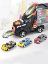 33Pcs/Set Big Truck Diecast Model Car for Children Christmas Gifts Cars Toys Vehicles Metal mini car track with Road Sign