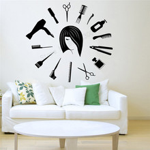 Art Wall Sticker Haircuts Barber Shop Salon Room Decoration Vinyl Removeable Poster Stylist Hair Tools Scissors Mural LY274