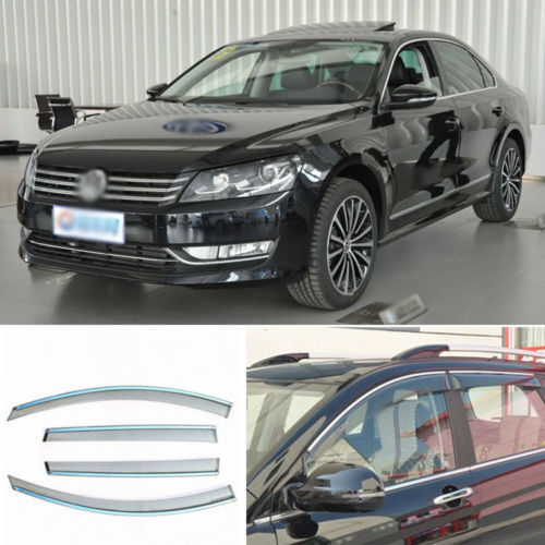 4pcs New Smoked Clear Window Vent Shade Visor Wind Deflectors For VW Passat 2011