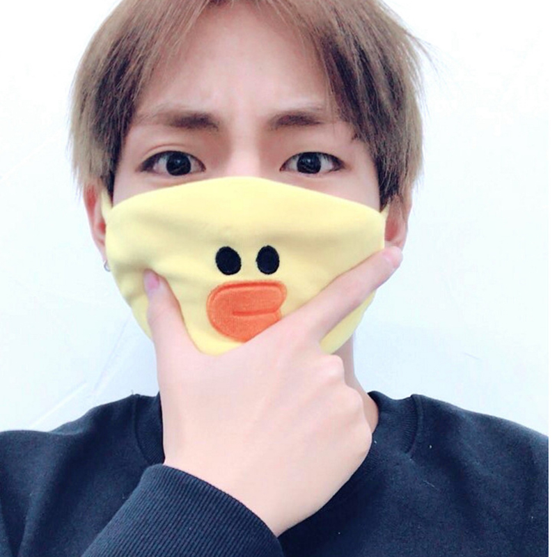 New Kpop Mask Mouth JUNG KOOK Same Sally Chicken Brown Bear Dust-proof Warm Mask Face Muffle Respirator Cotton