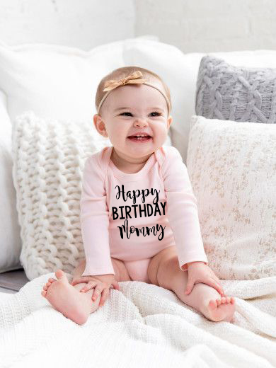 Happy Birthday Mommy Infant Newborn Baby Girls Hot Sale Fashion Style Long Sleeve Romper 100% COTTON Jumpsuit Clothes Outfits