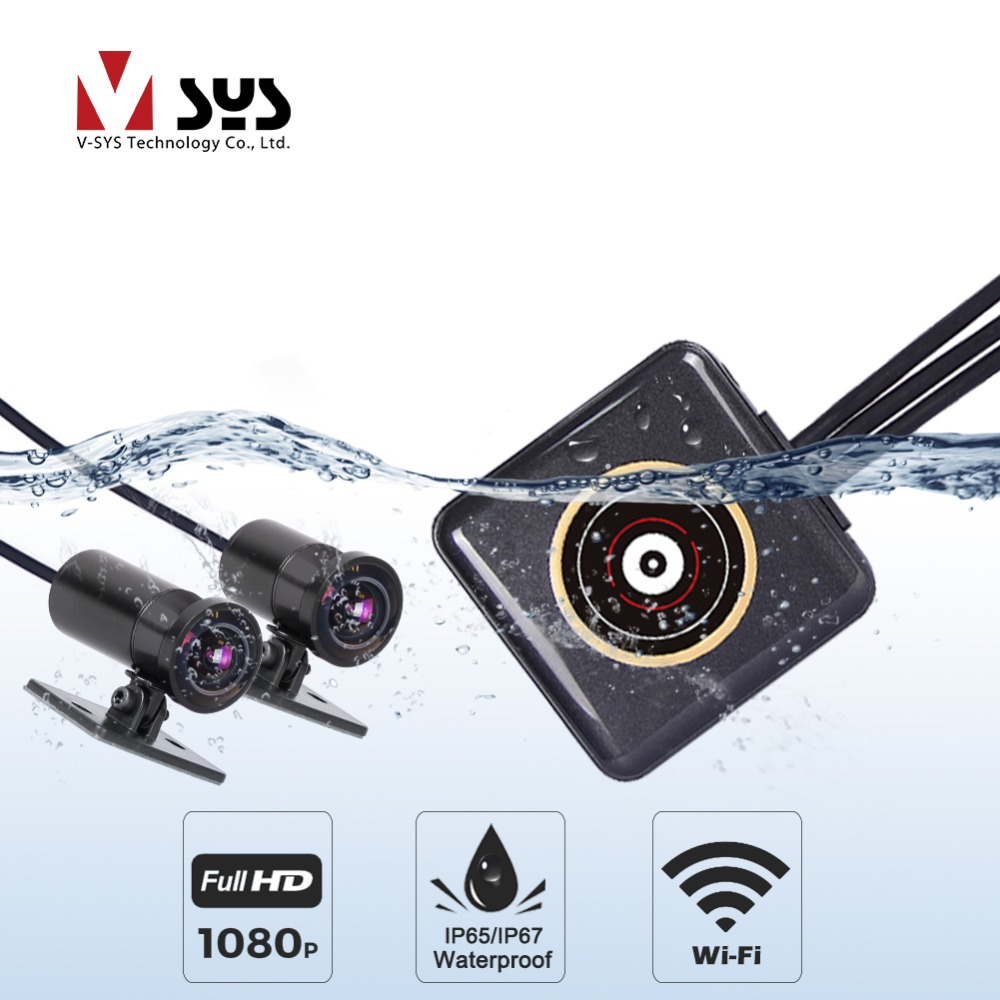 SYS VSYS Full Body Waterproof Motorcycle Camera Recorder P6FL WiFi Dual 1080P Full HD Motorcycle DVR Dash Cam Black GPS Box