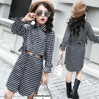 Autumn Kids Girls Clothes Grey Striped Long Sleeve Shirt + Skirt Children 2pcs Girls Clothing Set