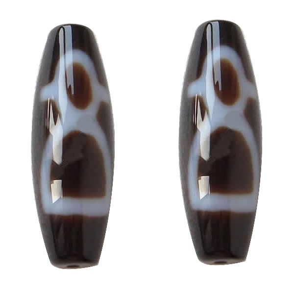 Amulet Grade AAA Agate Natural Wealth Men Tibetan Dzi Beads Oval 13x38mm Hole:Approx 2mm Free Shipping