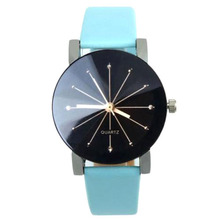 Trend Spherical ray Leather-based belt Quartz watch Blue (Ladies)