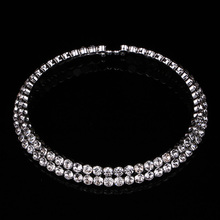 2 Rows Big Crystal Chokers Necklaces for Women Silver Plated Collier Femme Luxury Austrian Statement Necklace